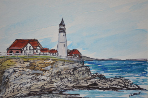 Portland Headlight Watercolor