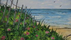watercolor beach roses