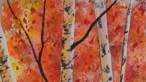 Learn to paint watercolor birch trees