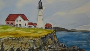 Portland Head Light Watercolor - Kellie Chasse