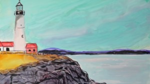 Portland Head light alcohol ink - Kellie Chasse
