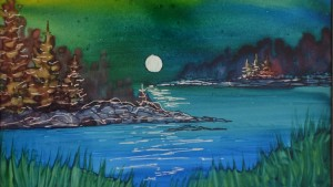 alcohol ink painting lake and moon