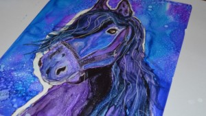 Horse alcohol ink art