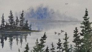 watercolor painting loons lake - Kellie chasse