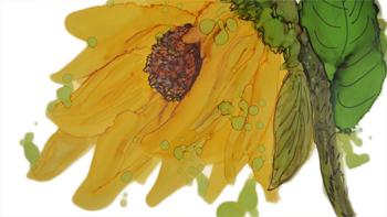 Sunflower Alcohol Ink Painting