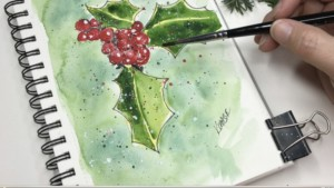 Holly Berries and snow painting