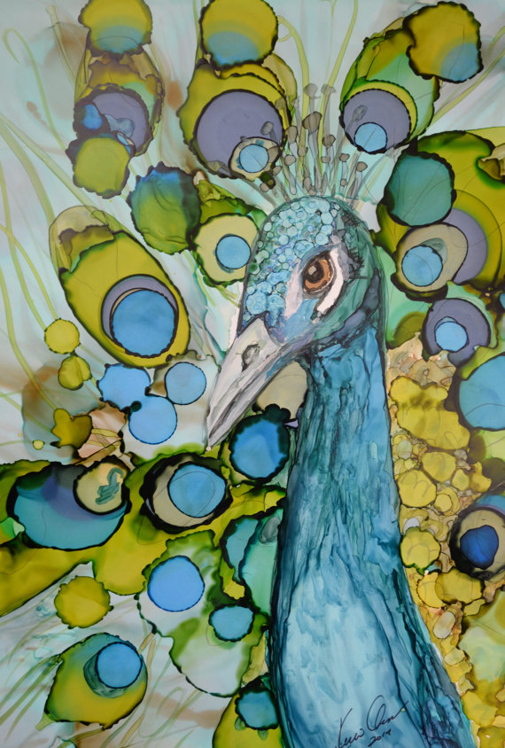 Peacock Art Feathers Alcohol Ink Print – Kellie Chasse's ...